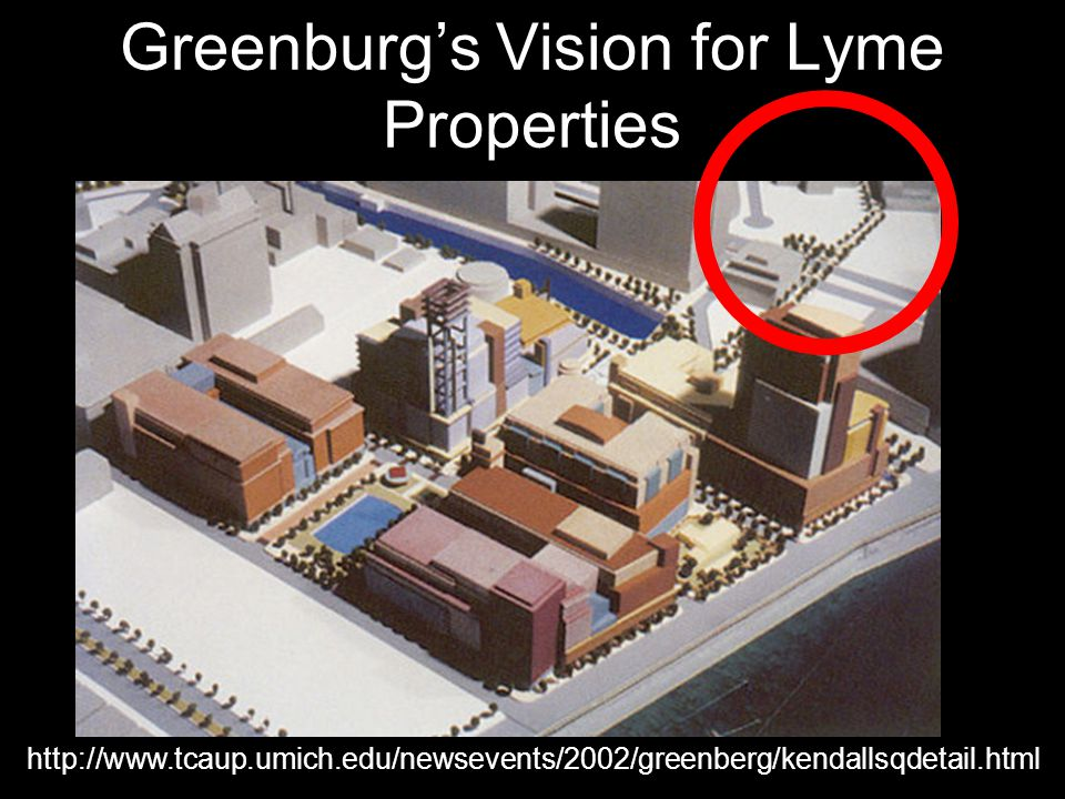 Greenburg's Vision for Lyme Properties http://www.tcaup.umich.edu/newsevents/2002/greenberg/kendallsqdetail.html