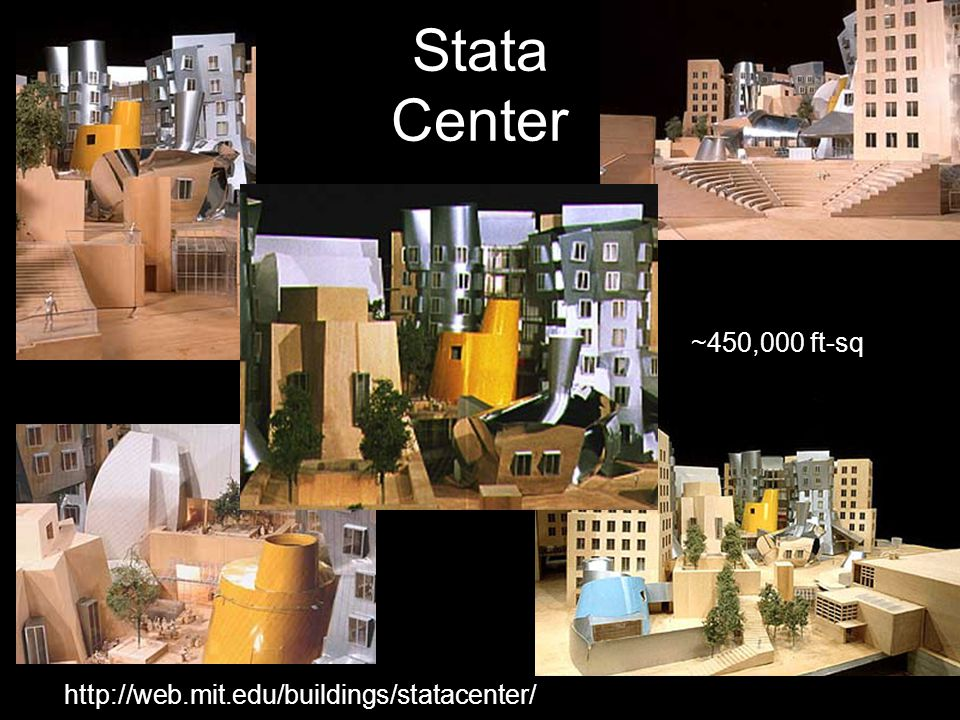 http://web.mit.edu/buildings/statacenter/ Stata Center ~450,000 ft-sq