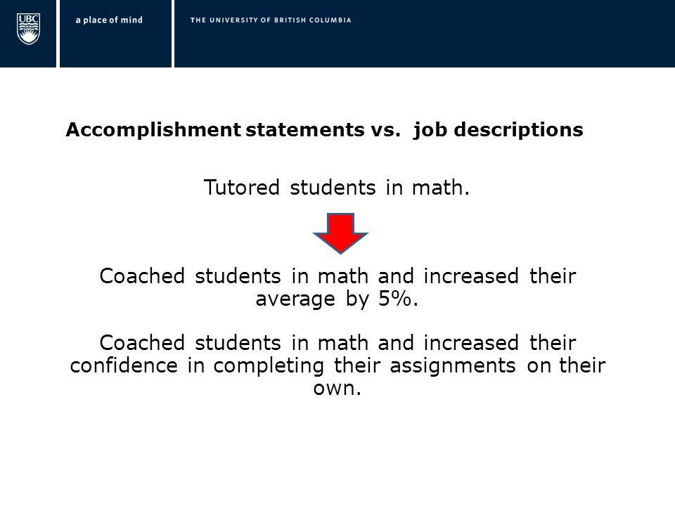 Accomplishment statements vs. job descriptions Tutored students in math.