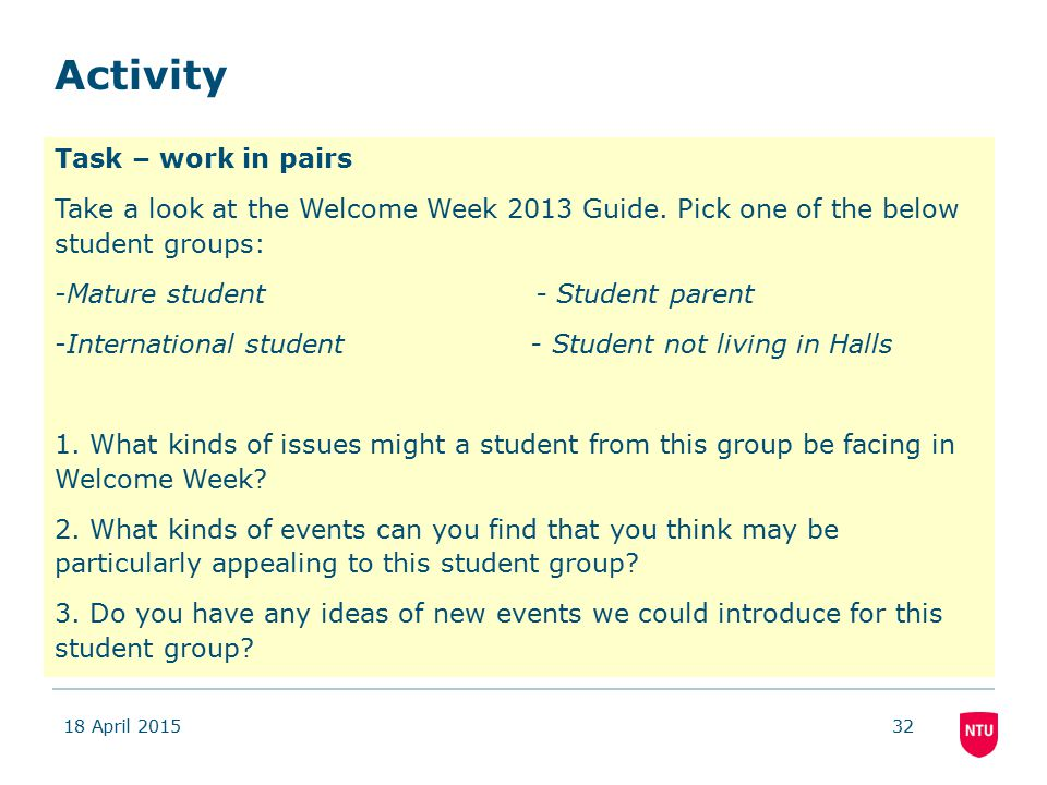 Activity 18 April 201532 Task – work in pairs Take a look at the Welcome Week 2013 Guide.