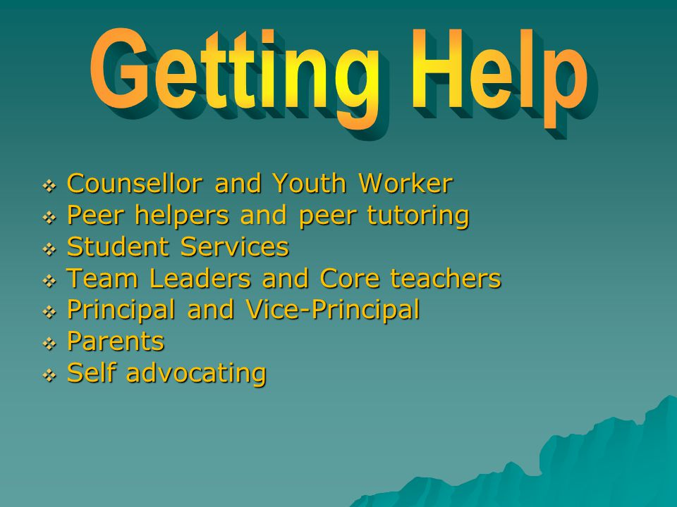  Counsellor and Youth Worker  Peer helpers and peer tutoring  Student Services  Team Leaders and Core teachers  Principal and Vice-Principal  Pa