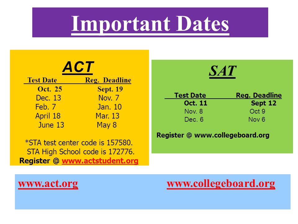 Important Dates SAT Test Date Reg. Deadline Oct. 11 Sept 12 Nov.