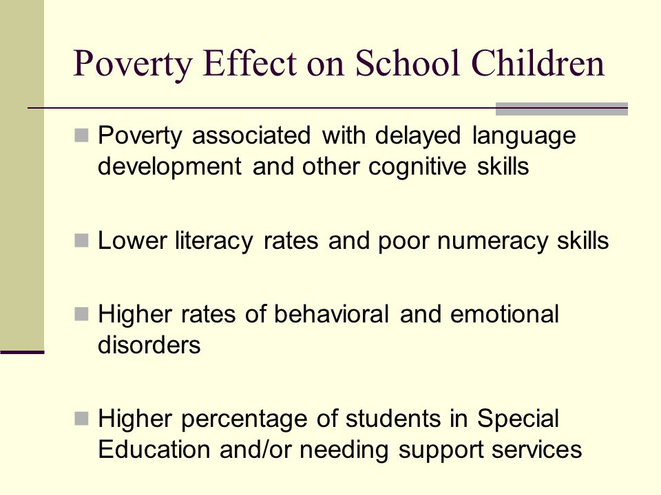 Poverty Effect on School Children Poverty associated with delayed language development and other cognitive skills Lower literacy rates and poor numeracy skills Higher rates of behavioral and emotional disorders Higher percentage of students in Special Education and/or needing support services