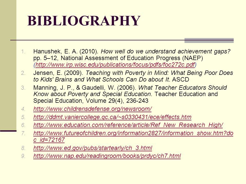 BIBLIOGRAPHY 1. Hanushek, E. A. (2010). How well do we understand achievement gaps.