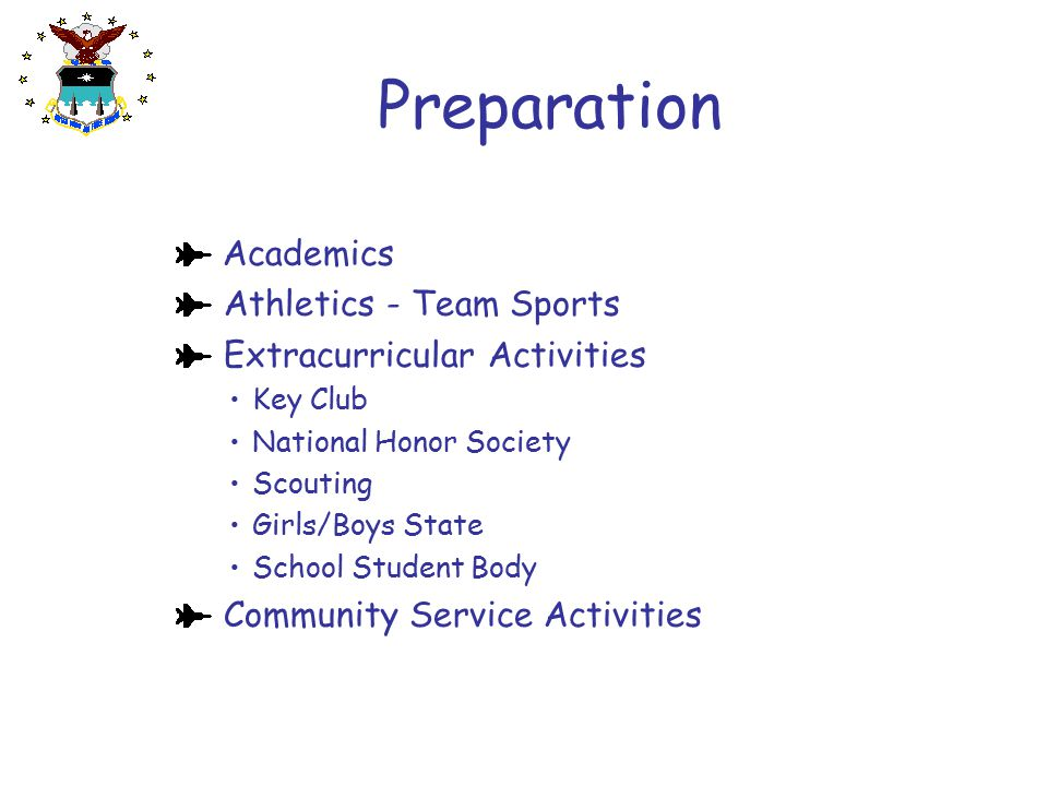 Preparation Academics Athletics - Team Sports Extracurricular Activities  Key Club  National Honor Society  Scouting  Girls/Boys State  School St