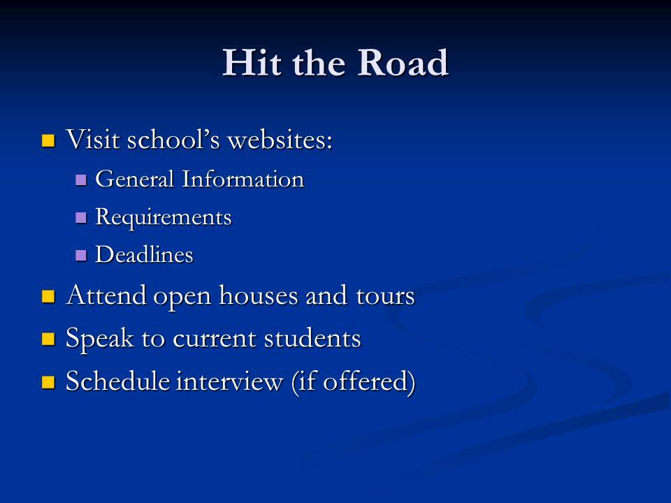 Hit the Road Visit school's websites: Visit school's websites: General Information General Information Requirements Requirements Deadlines Deadlines A