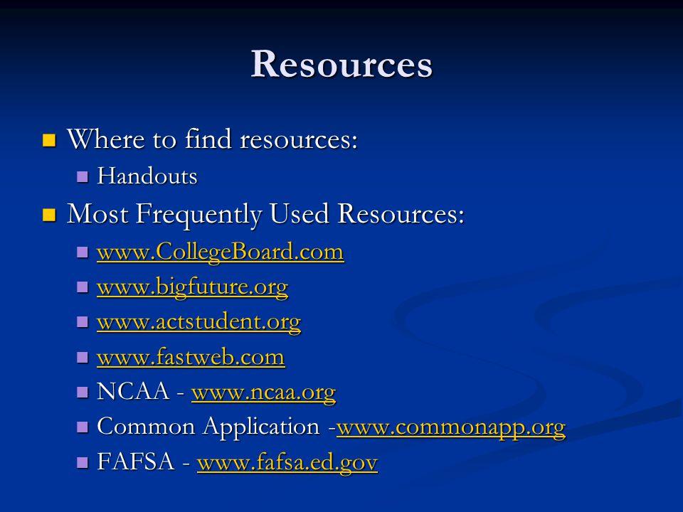 Resources Where to find resources: Where to find resources: Handouts Handouts Most Frequently Used Resources: Most Frequently Used Resources: www.CollegeBoard.com www.CollegeBoard.com www.CollegeBoard.com www.bigfuture.org www.bigfuture.org www.bigfuture.org www.actstudent.org www.actstudent.org www.actstudent.org www.fastweb.com www.fastweb.com www.fastweb.com NCAA - www.ncaa.org NCAA - www.ncaa.orgwww.ncaa.org Common Application -www.commonapp.org Common Application -www.commonapp.orgwww.commonapp.org FAFSA - www.fafsa.ed.gov FAFSA - www.fafsa.ed.govwww.fafsa.ed.gov