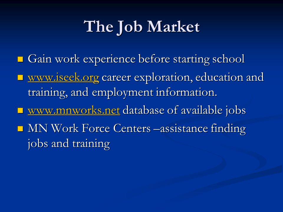 The Job Market Gain work experience before starting school Gain work experience before starting school www.iseek.org career exploration, education and