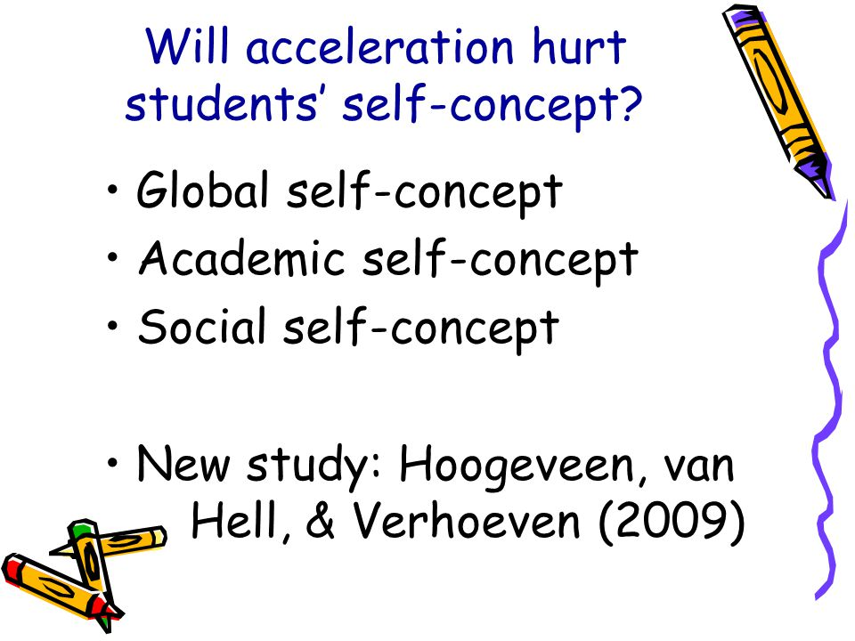 Will acceleration hurt students' self-concept.