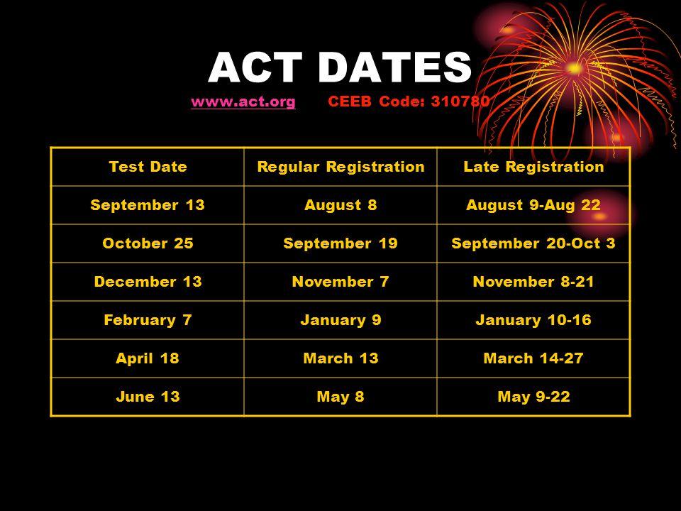 ACT DATES www.act.org CEEB Code: 310780 www.act.org Test DateRegular RegistrationLate Registration September 13August 8August 9-Aug 22 October 25Septe