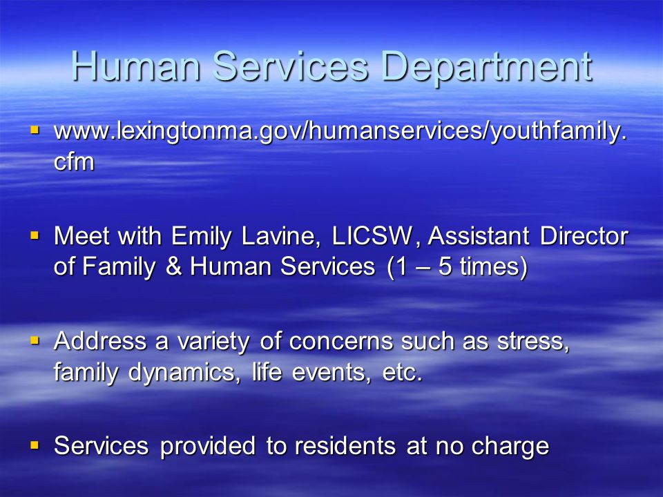 Human Services Department  www.lexingtonma.gov/humanservices/youthfamily. cfm  Meet with Emily Lavine, LICSW, Assistant Director of Family & Human S