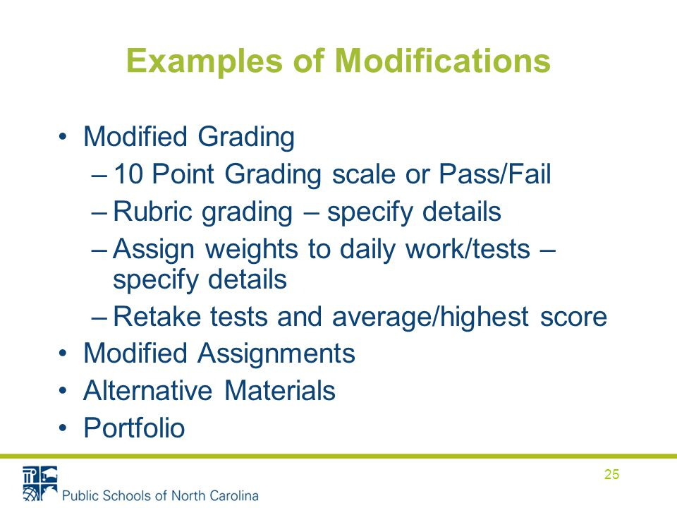 Examples of Modifications Modified Grading –10 Point Grading scale or Pass/Fail –Rubric grading – specify details –Assign weights to daily work/tests – specify details –Retake tests and average/highest score Modified Assignments Alternative Materials Portfolio 25