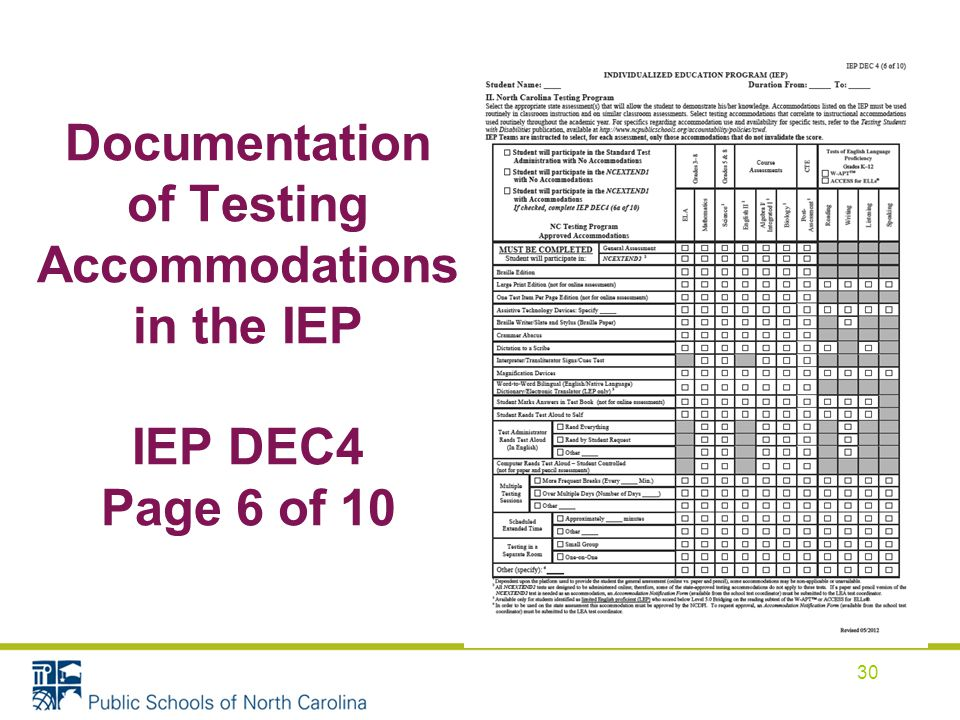 Documentation of Testing Accommodations in the IEP IEP DEC4 Page 6 of 10 30