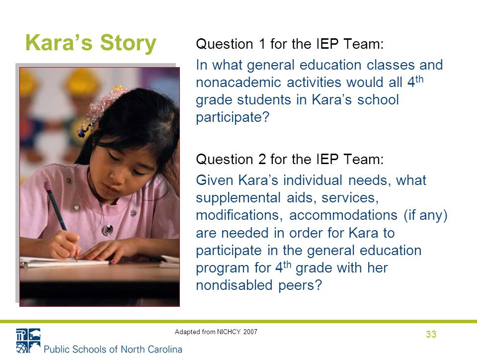 Kara's Story Question 1 for the IEP Team: In what general education classes and nonacademic activities would all 4 th grade students in Kara's school participate.