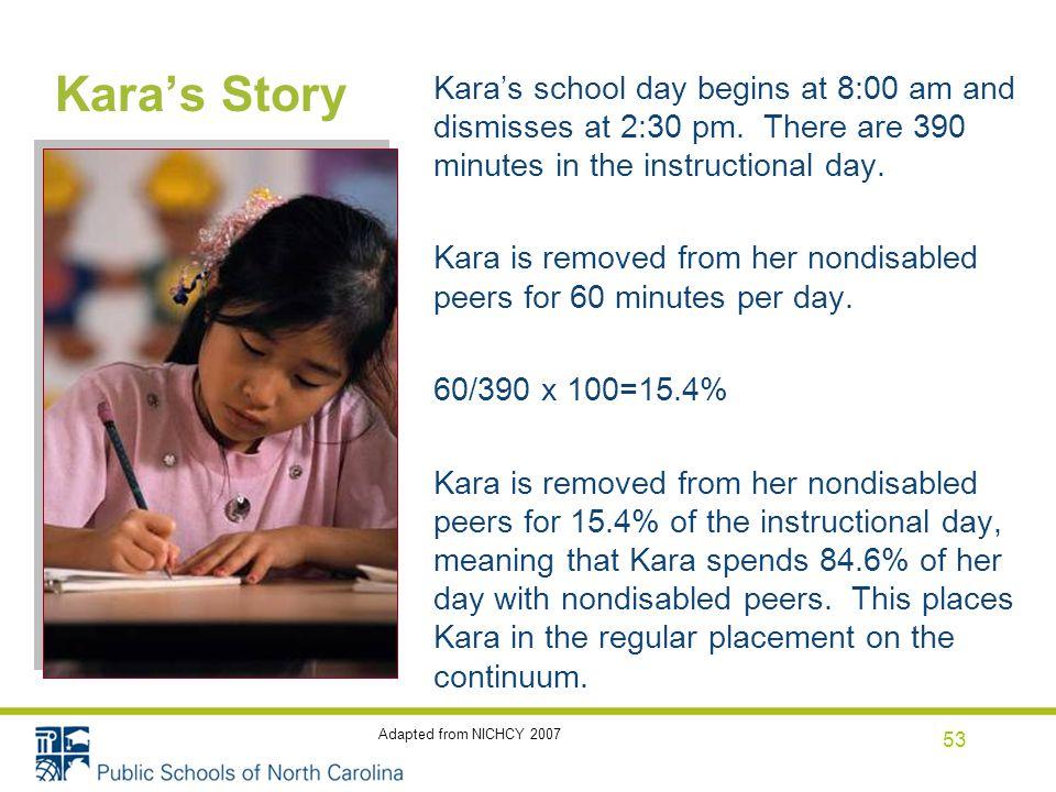 Kara's Story Kara's school day begins at 8:00 am and dismisses at 2:30 pm.