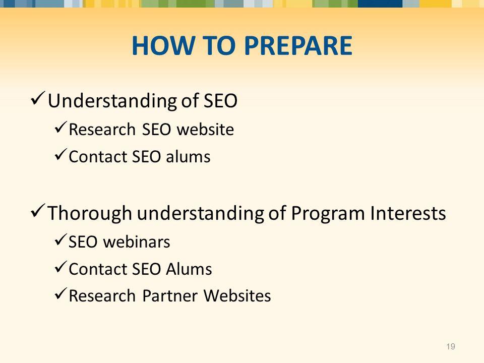 Understanding of SEO Research SEO website Contact SEO alums Thorough understanding of Program Interests SEO webinars Contact SEO Alums Research Partne