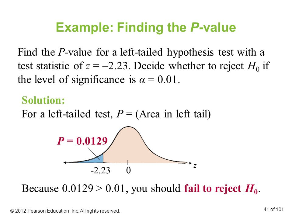 Example: Finding the P-value Find the P-value for a left-tailed hypothesis test with a test statistic of z = –2.23.