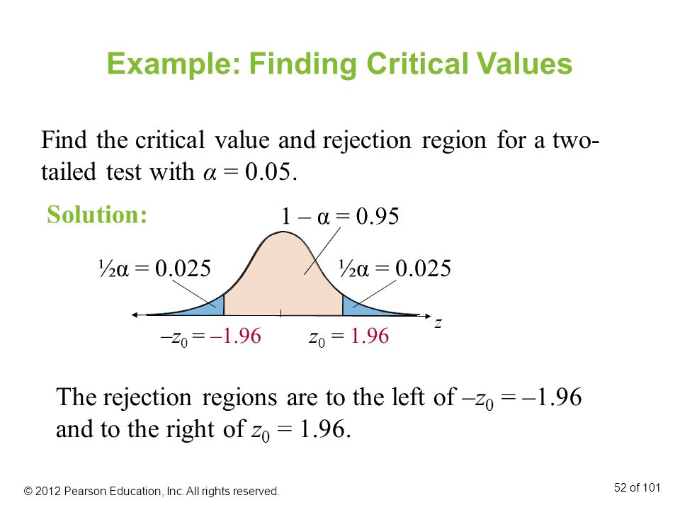 Example: Finding Critical Values Find the critical value and rejection region for a two- tailed test with α = 0.05.