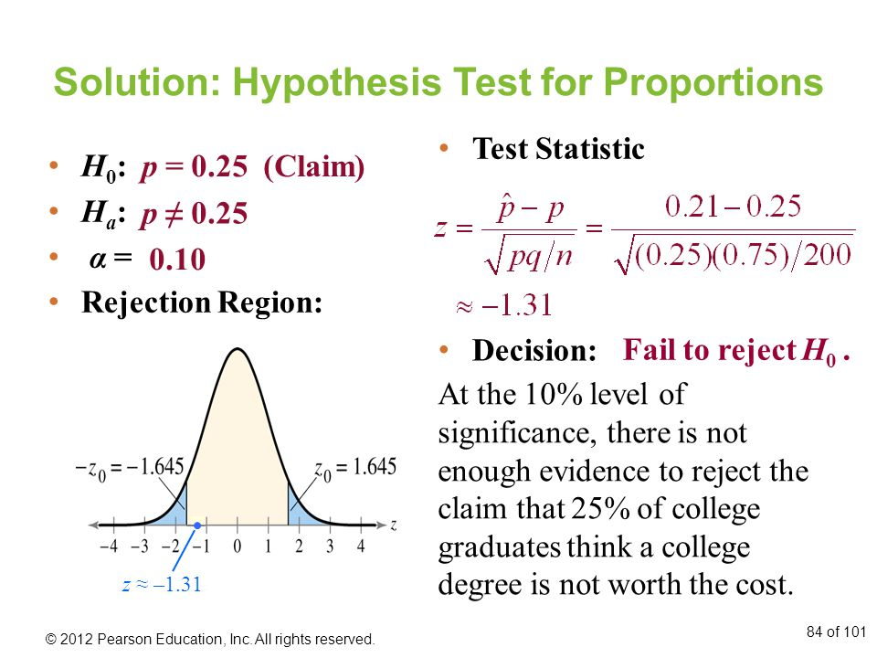 Solution: Hypothesis Test for Proportions H 0 : H a : α = Rejection Region: p = 0.25 (Claim) p ≠ 0.25 0.10 Decision: At the 10% level of significance, there is not enough evidence to reject the claim that 25% of college graduates think a college degree is not worth the cost.
