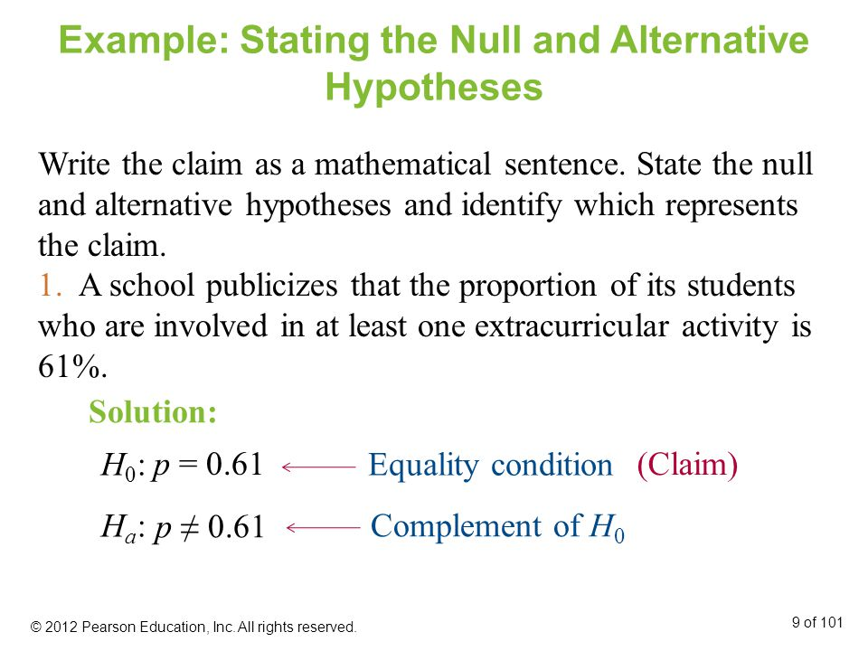 P-values P-value (or probability value) The probability, if the null hypothesis is true, of obtaining a sample statistic with a value as extreme or more extreme than the one determined from the sample data.