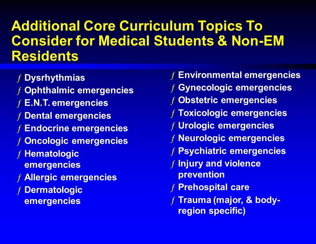 Additional Core Curriculum Topics To Consider for Medical Students & Non-EM Residents ƒDysrhythmias ƒOphthalmic emergencies ƒE.N.T. emergencies ƒDenta