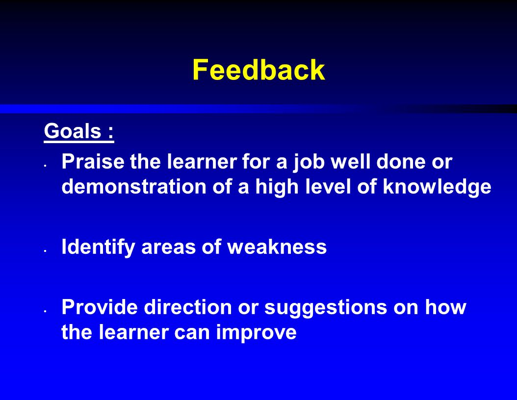 Feedback Goals : Praise the learner for a job well done or demonstration of a high level of knowledge Identify areas of weakness Provide direction or suggestions on how the learner can improve
