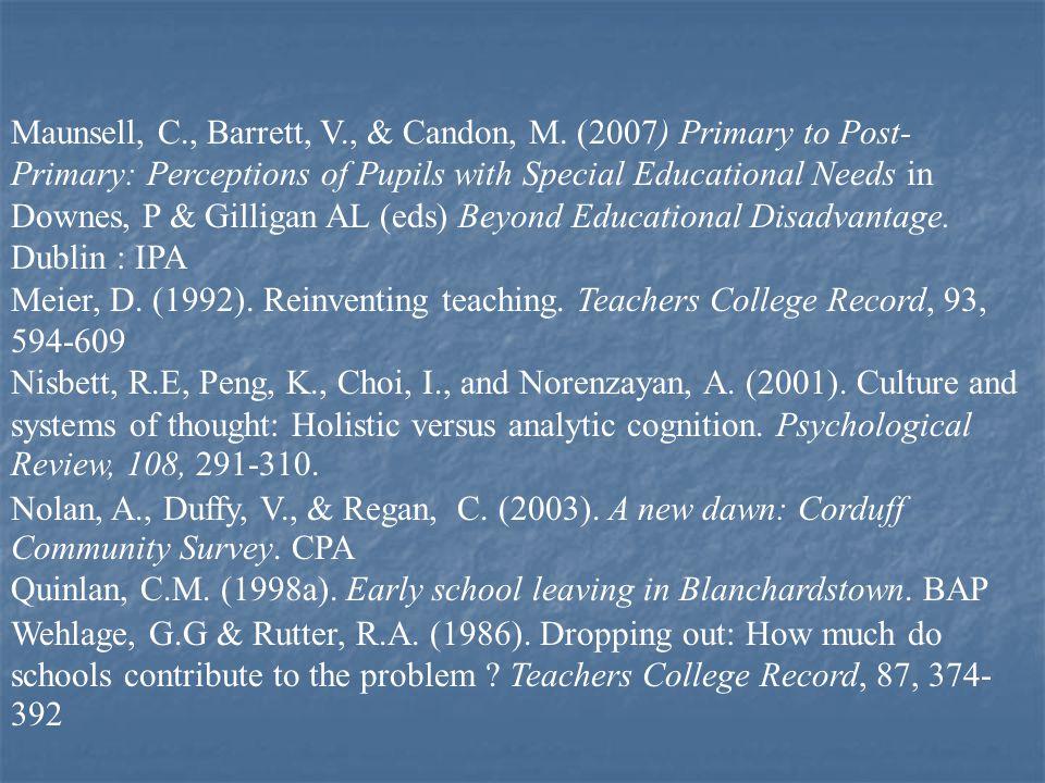 Maunsell, C., Barrett, V., & Candon, M.