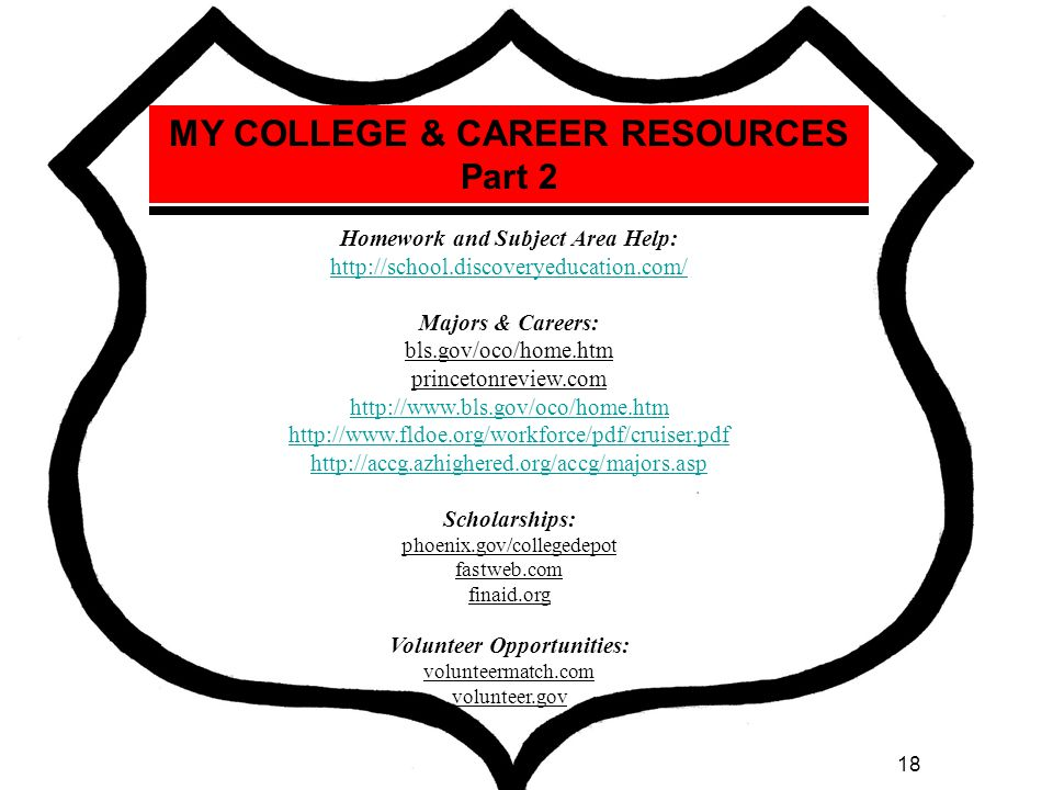 MY COLLEGE & CAREER RESOURCES Part 2 Homework and Subject Area Help: http://school.discoveryeducation.com/ Majors & Careers: bls.gov/oco/home.htm princetonreview.com http://www.bls.gov/oco/home.htm http://www.fldoe.org/workforce/pdf/cruiser.pdf http://accg.azhighered.org/accg/majors.asp Scholarships: phoenix.gov/collegedepot fastweb.com finaid.org Volunteer Opportunities: volunteermatch.com volunteer.gov Explore Colleges: collegeboard.org YOUniversitytv.com eCampusTours.com http://nces.ed.gov/collegenavigator/ https://www.azed.gov/resourcecenter/colleges_universities.asp Majors & Careers: bls.gov/oco/home.htm princetonreview.com http://www.kids.gov/ http://www.bls.gov/k12/ http://www.bls.gov/oco/home.htm http://www.fldoe.org/workforce/pdf/cruiser.pdf http://accg.azhighered.org/accg/majors.asp http://www.azcis.intocareers.org/ College Preparation: http://www.knowhow2go.org/middle.php CollegeCareerLifePlanning.com 18