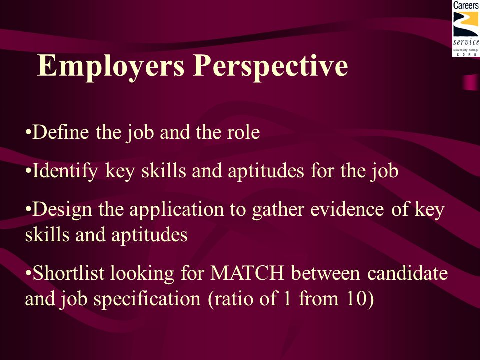 Employers Perspective Define the job and the role Identify key skills and aptitudes for the job Design the application to gather evidence of key skills and aptitudes Shortlist looking for MATCH between candidate and job specification (ratio of 1 from 10)