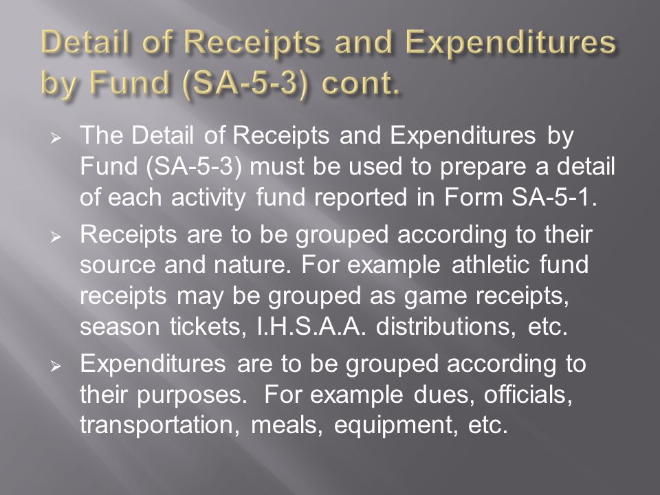  The Detail of Receipts and Expenditures by Fund (SA-5-3) must be used to prepare a detail of each activity fund reported in Form SA-5-1.