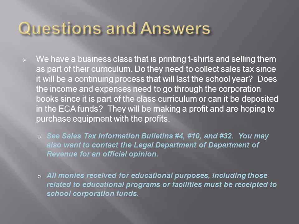  We have a business class that is printing t-shirts and selling them as part of their curriculum.