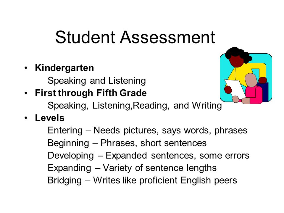Student Assessment Kindergarten Speaking and Listening First through Fifth Grade Speaking, Listening,Reading, and Writing Levels Entering – Needs pictures, says words, phrases Beginning – Phrases, short sentences Developing – Expanded sentences, some errors Expanding – Variety of sentence lengths Bridging – Writes like proficient English peers