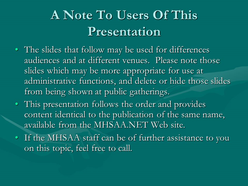 A Note To Users Of This Presentation The slides that follow may be used for differences audiences and at different venues. Please note those slides wh