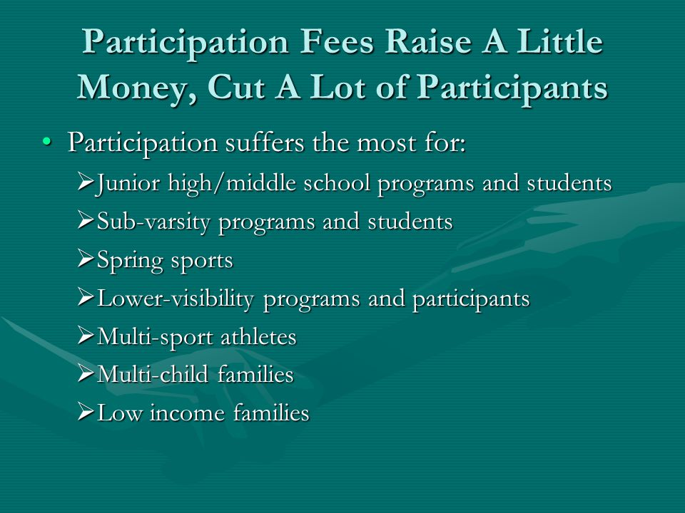Participation Fees Raise A Little Money, Cut A Lot of Participants Participation suffers the most for:Participation suffers the most for:  Junior hig