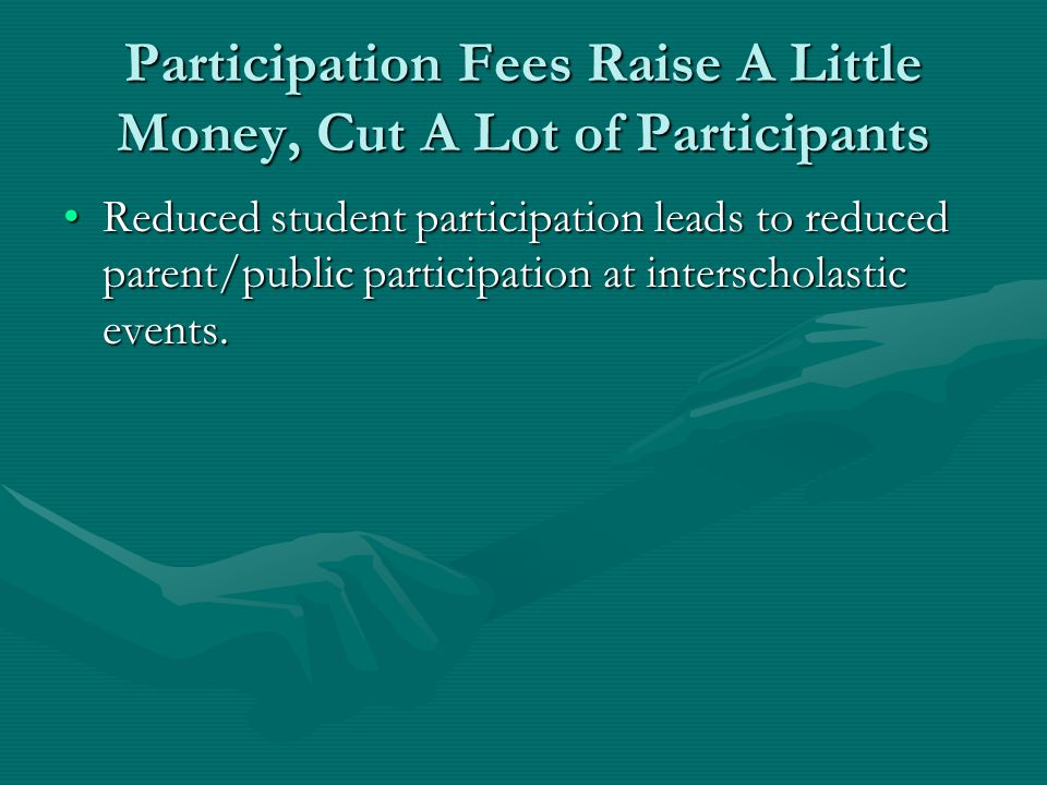 Participation Fees Raise A Little Money, Cut A Lot of Participants Reduced student participation leads to reduced parent/public participation at inter
