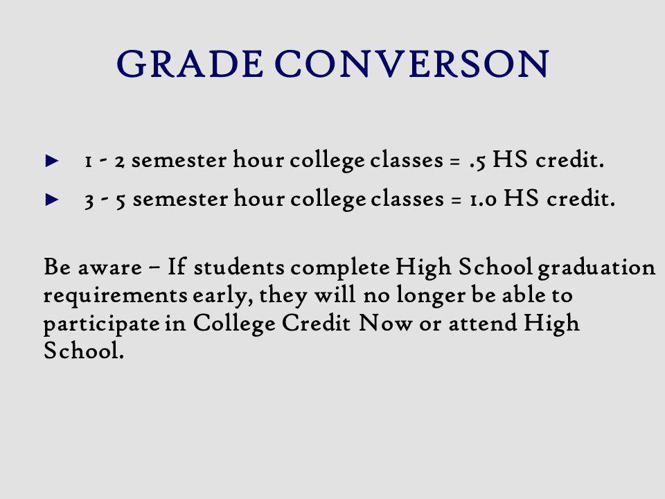 GRADE CONVERSON ► 1 - 2 semester hour college classes =.5 HS credit. ► 3 - 5 semester hour college classes = 1.0 HS credit. Be aware – If students com