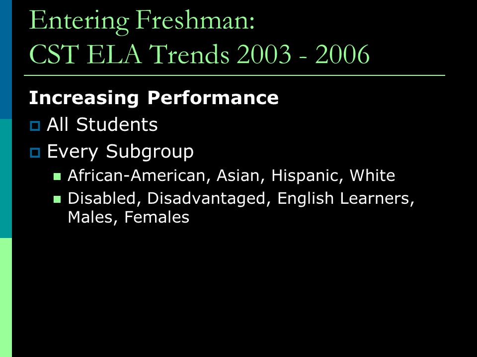 Entering Freshman: CST ELA Trends 2003 - 2006 Increasing Performance  All Students  Every Subgroup African-American, Asian, Hispanic, White Disabled, Disadvantaged, English Learners, Males, Females