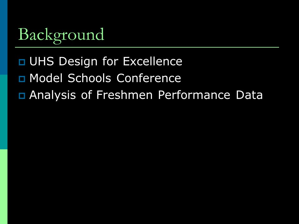 Background  UHS Design for Excellence  Model Schools Conference  Analysis of Freshmen Performance Data