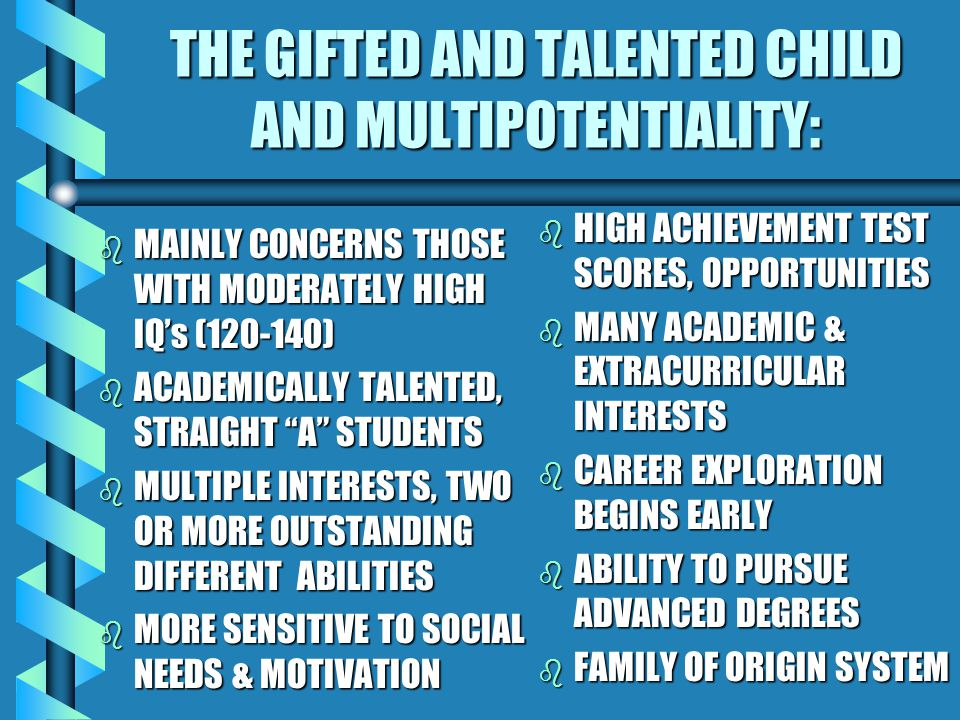 ELEMENTARY SCHOOL CONCERNS DIFFICULTY MAKING DECISIONS DIFFICULTY FINISHING UP DIFFICULTY CHOOSING TOPICS OR PROJECTS DIFFICULTY FOLLOWING THROUGH MULTIPLE HOBBIES BRIEF PERIODS OF ENTHUSIASM DIFFICULTY COMPLETING THOSE ENJOYABLE TASKS SIGNS THAT MULTIPOTENTIALITY IS A CONCERN: MAY BEGIN EARLY, THE PATH FROM EDUCATION TO CAREER IS NOT ALWAYS SMOOTH, COMPLICATED BY SOCIAL-EMOTIONAL PROBLEMS & NEEDS OF THE GIFTED CHILD.
