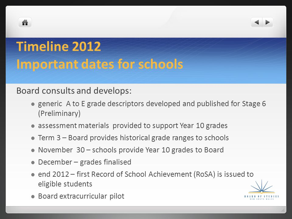 Timeline 2013 Important dates for schools Board publishes preliminary A to E grade descriptors assessment materials provided as support for Year 11 grades Board conducts teacher panels for grading Term 3 - Board provides advice to school about grade distribution October - schools provide Year 11 grades to Board Year 11 grades finalised during Term 4