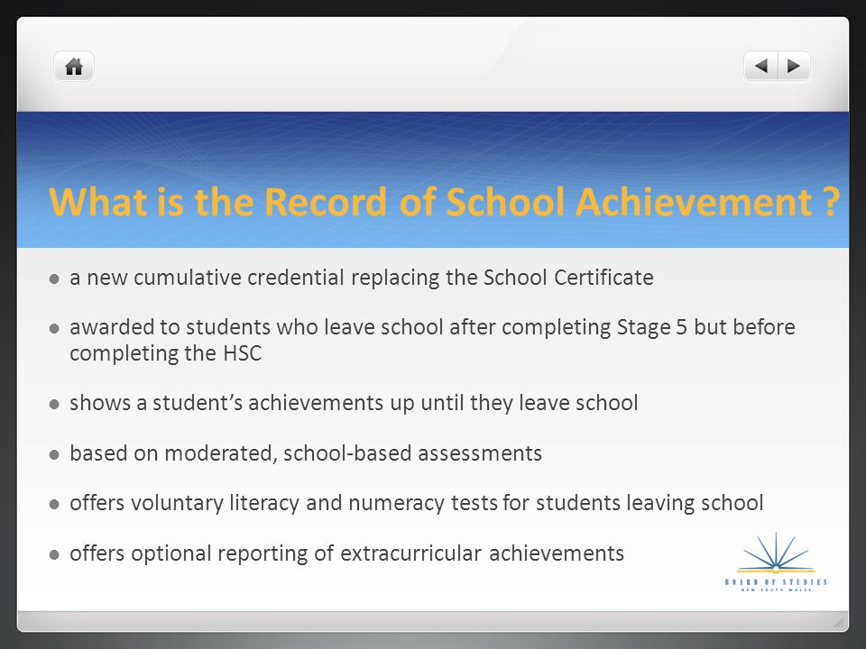 What is the Record of School Achievement .