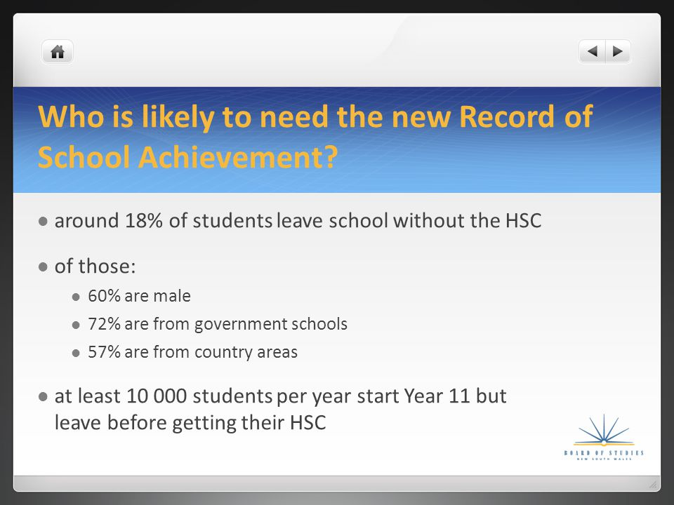 Who gets a Record of School Achievement.