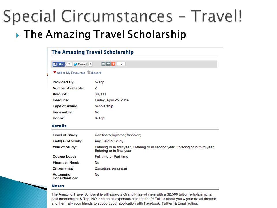  The Amazing Travel Scholarship