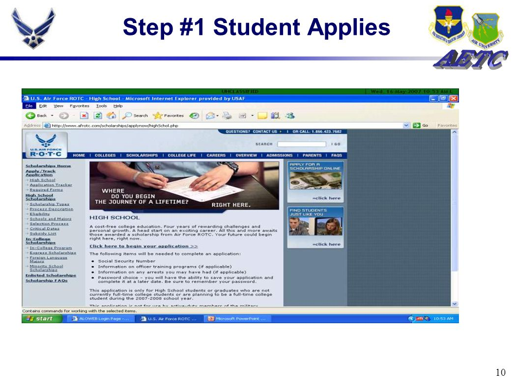 10 Step #1 Student Applies