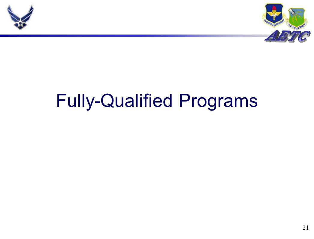 21 Fully-Qualified Programs