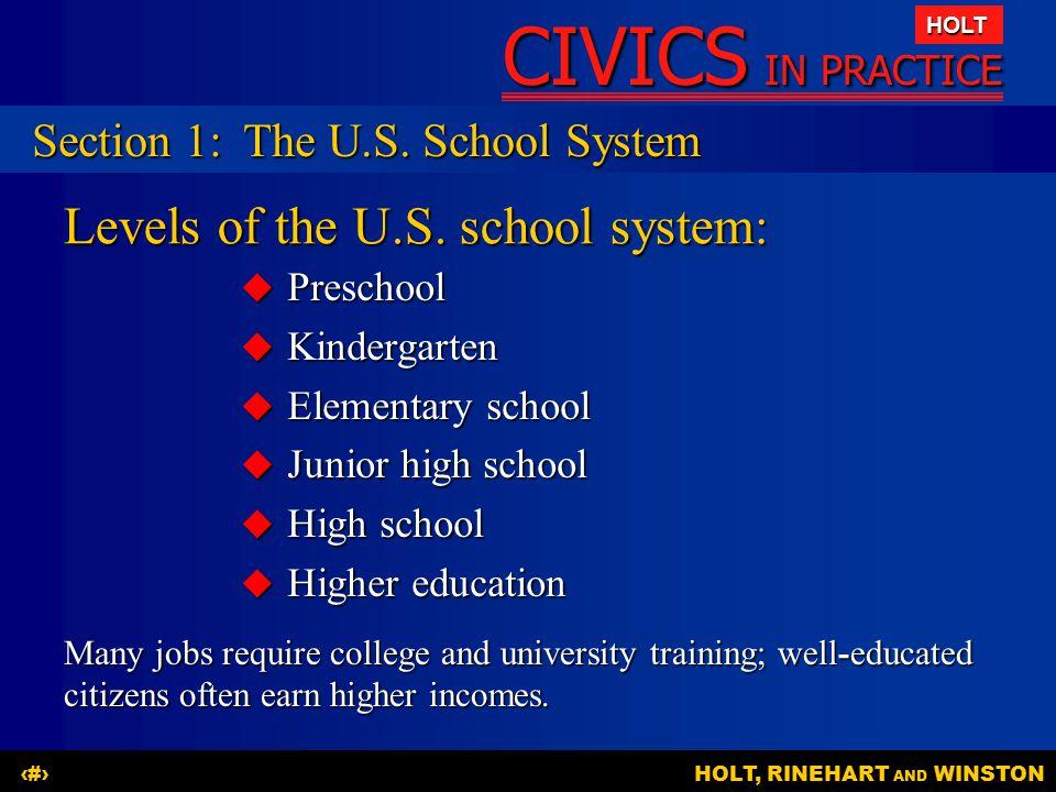 CIVICS IN PRACTICE HOLT HOLT, RINEHART AND WINSTON5 Levels of the U.S. school system:  Preschool  Kindergarten  Elementary school  Junior high sch