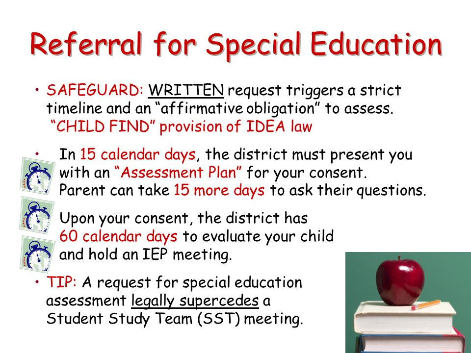 "Referral for Special Education SAFEGUARD: WRITTEN request triggers a strict timeline and an ""affirmative obligation"" to assess. ""CHILD FIND"" provision"