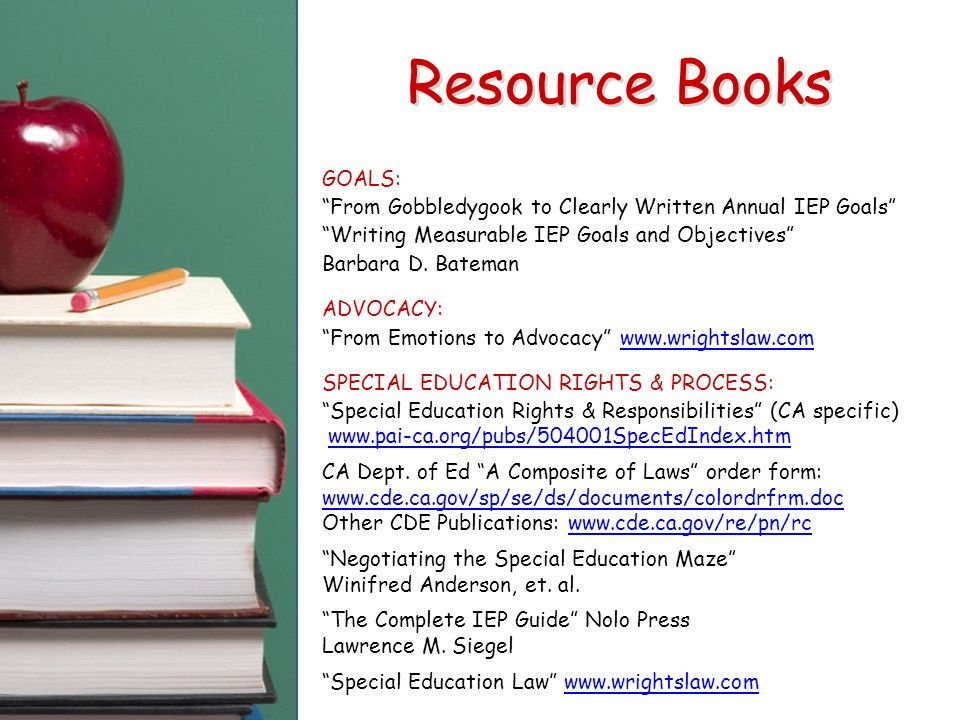 "GOALS: ""From Gobbledygook to Clearly Written Annual IEP Goals"" ""Writing Measurable IEP Goals and Objectives"" Barbara D. Bateman ADVOCACY: ""From Emotio"