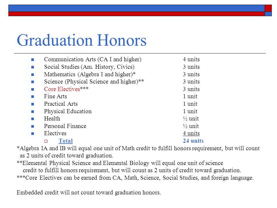 Graduation Honors Communication Arts (CA I and higher)4 units Social Studies (Am. History, Civics)3 units Mathematics (Algebra I and higher)*3 units S