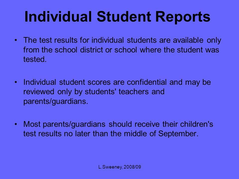 L.Sweeney, 2008/09 California Standardized Testing and Reporting (STAR) CST Scores By district, school, grades Significant student subgroups: White (not of Hispanic origin) English Language Learners Hispanic Asian Socioeconomically Disadvantaged